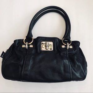 B Makowsky Black Leather Tote Bag